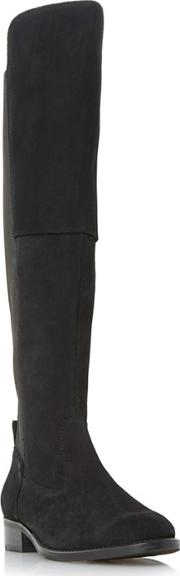 Black tinker Stretch Panel Flat Over The Knee High Boots