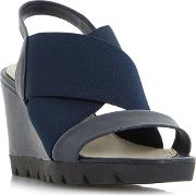 Navy kelsall Elasticated Cross Strap Wedge Sandals