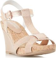 Rose 'karie' Cross Strap T Bar Wedge Sandals