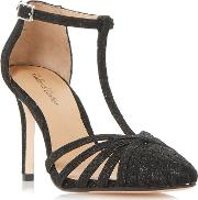 Black dazzled Strappy T Bar Court Shoes
