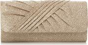 Gold bailee Ruched Flap Over Clutch Bag