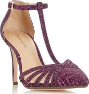 Purple dazzled Strappy T Bar Court Shoes