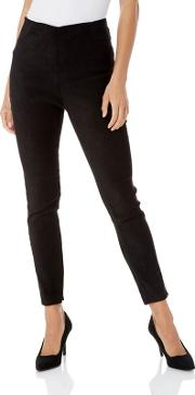 Black Full Length Suedette Stretch Trousers