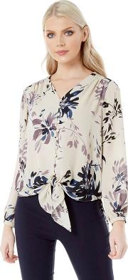 Navy Printed Knot Front Blouse