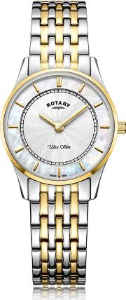 Ladies Gold And Silver ultra Slim Bracelet Watch