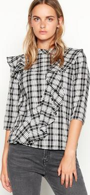 Nine By  Miller Black Check Print Frill Cotton Blouse