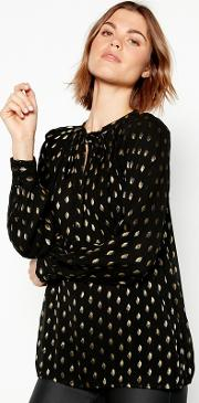 Nine By  Miller Black Metallic Embroidered Tie Neck Blouse