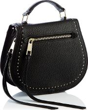 Nine By  Miller Black Studded Faux Leather suze Cross Body Bag