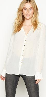 Nine By  Miller Cream Gold Star Embroidered Blouse