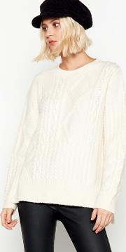 Nine By  Miller Ivory Cable Knit Jumper
