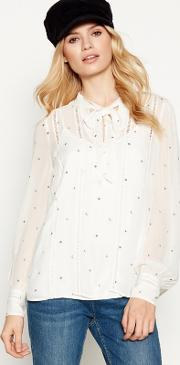 Nine By  Miller Ivory Star And Moon Embroidered Tie Neck Blouse