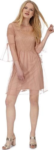 Nine By  Miller Light Pink Spotted Mesh Lace Insert Dress