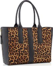 Nine By  Miller Multicoloured Leopard Print evie Large Shopper Bag