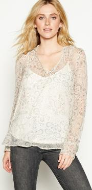 Nine By  Miller Off White Paisley Print Tie Neck Long Sleeve Blouse