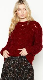 Nine By  Miller Red Chunky Pointelle Jumper