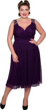 Dark Purple Polyester Midi Length Plus Size Cocktail Dress
