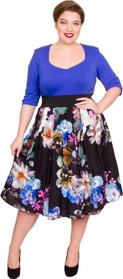 Multicoloured Jersey Midi Length Plus Size Floral Dress