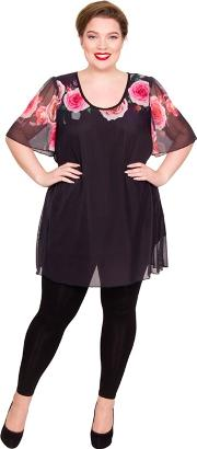 Multicoloured Polyester Scoop Neck Plus Size Blouse