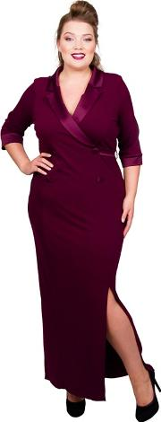 Red Jersey Full Length Plus Size Maxi Dress