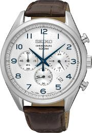 Gents Stainless Steel Chronograph Leather Strap Watch Ssb229p1