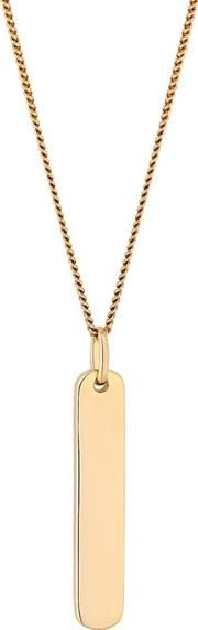 12ct Gold Plated Sterling Silver Yellow Engravable Vertical Bar Short Pendant Necklace