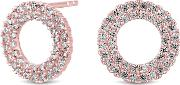 14ct Rose Gold Plated Sterling Silver Cubic Zirconia Circle Stud Earrings
