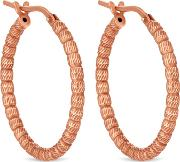 14ct Rose Gold Plated Sterling Silver Textured Hoop Earrings