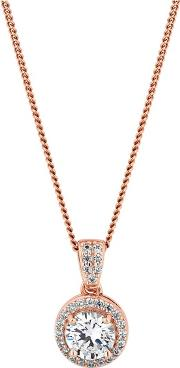 14ct Rose Gold Plated Sterling Silver White Cubic Zirconia Clara Short Pendant Necklace