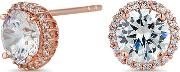 Rose Gold Sterling Silver Cubic Zirconia Pave Surround Stud Earring
