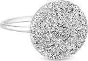 Sterling Silver Pave Disc Ring