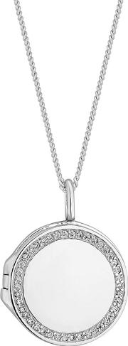 Sterling Silver Pave Locket Necklace