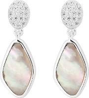 Sterling Silver Pave Mother Of Pearl Drop Earrings