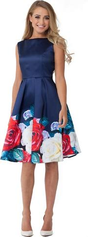 Navy lina Multicoloured Floral Prom Dress