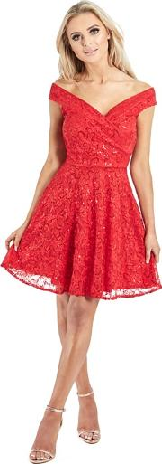 Red misty Bardot Sequin Lace Prom Dress