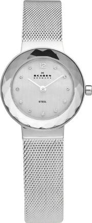 Ladies Silver Faceted Bezel Watch 456sss