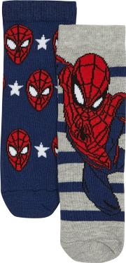 Boys' Pack Of Two Navy And Grey 'spider Man' Socks