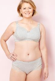 Grey Lace Non Wired Padded Post Surgery Bra
