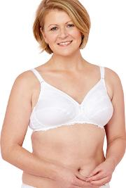 White Lace Non Wired Non Padded Full Cup Post Surgery Mastectomy Bra