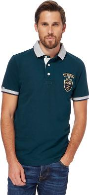 Big And Tall Dark Green Contrast Collar Polo Shirt
