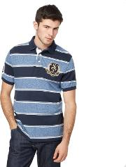 Big And Tall Navy Striped Embroidered Logo Polo Shirt