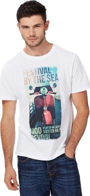 Big And Tall White Festival By The Sea Print T Shirt