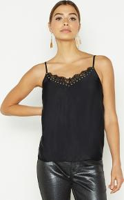 Black Sleeveless Lace Stud Camisole