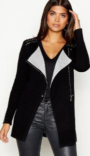 Black Studded Double Faced Long Sleeve Biker Cardigan