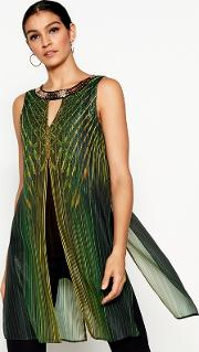 Green Printed Necklace Longline Top