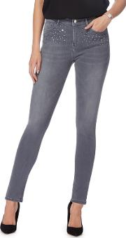 Grey Embellished Pocket Skinny Jeans