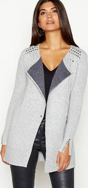 Grey Studded Double Faced Long Sleeve Biker Cardigan
