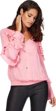 Pink Ruffle Sleeves Blouse