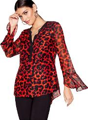 Red Animal Print Chain Long Sleeves Blouse