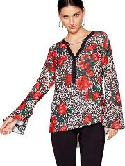 Red Floral Animal Chain Long Sleeves Blouse