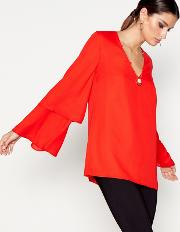 Red Long Sleeved Necklace Top